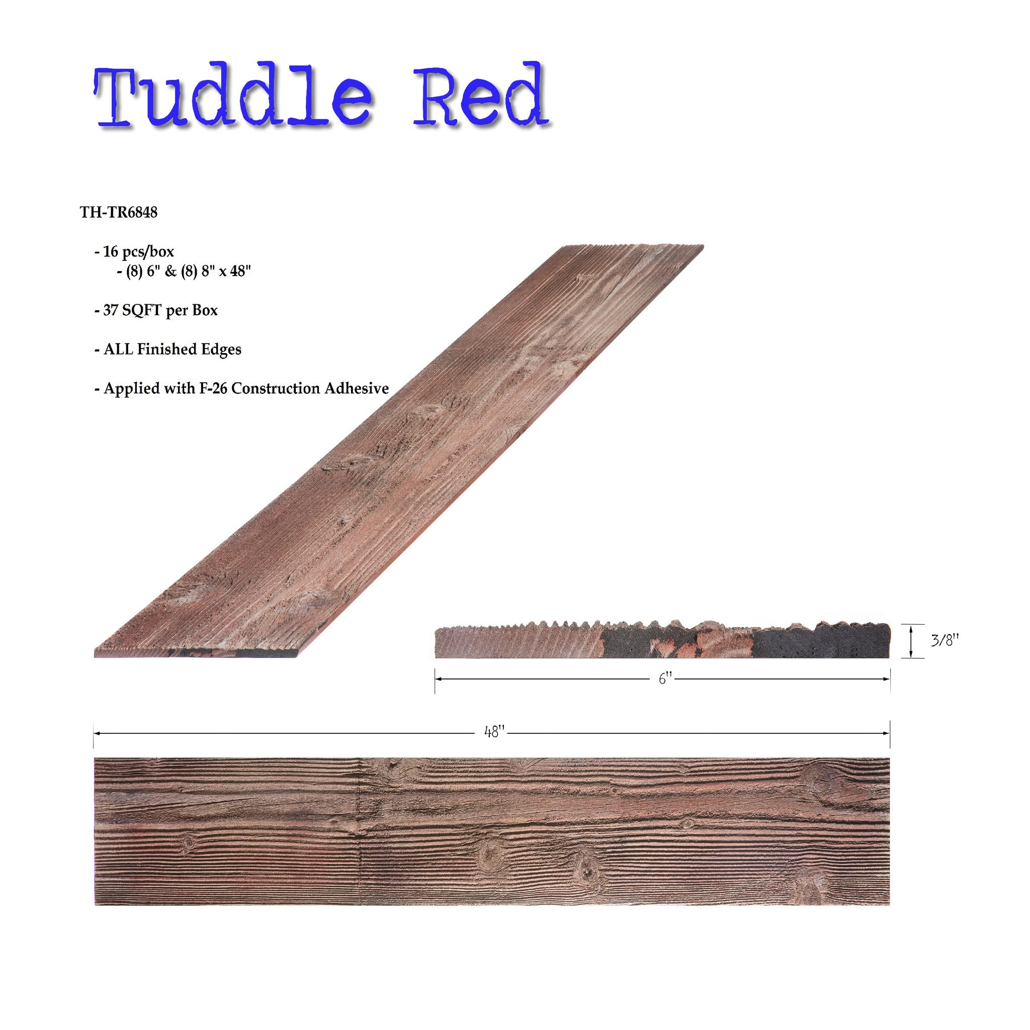 Thin Plank-Tuddle Red 37.33 sq ft box @$8.95/sq ft