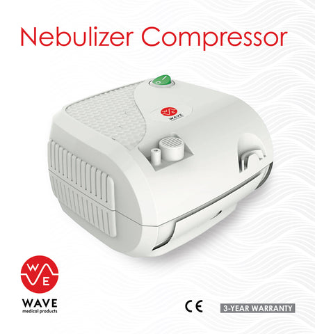 Compact Nebulizer Compressor System with Adult and Child Mask Kits and Travel Bag by Wave Medical Products