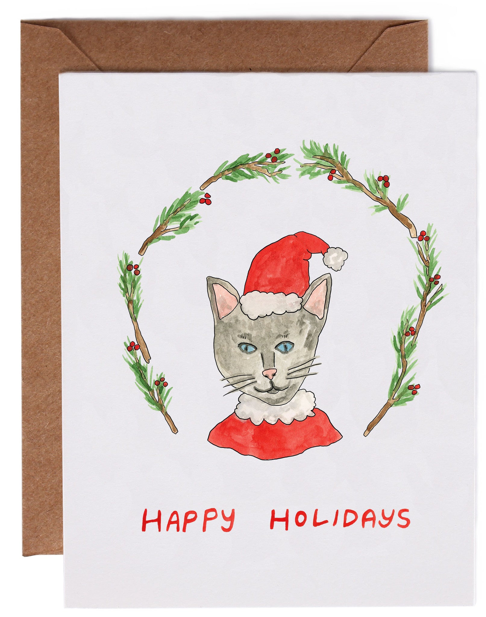 santa cat holiday cards 8 count right wong