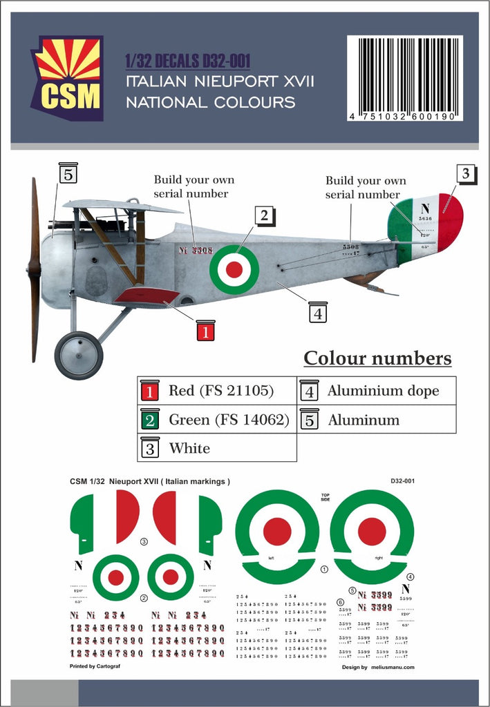Copper State Models D32-001 1/32 Nieuport XVII Italian National Colours Decal set - BlackMike Models