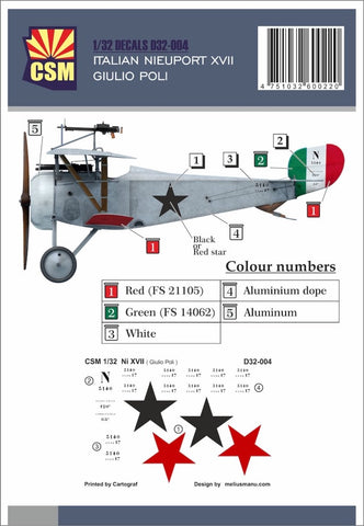 Copper State Models D32-004 1/32 Nieuport XVII Giulio Poli Decal set - BlackMike Models