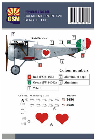 Copper State Models D32-006 1/32 Nieuport XVII Serg. E. Luit Decal set - BlackMike Models