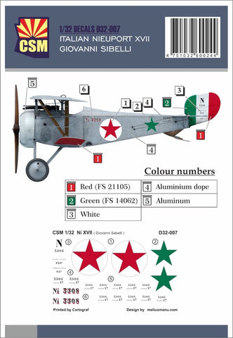 Copper State Models D32-007 1/32 Nieuport XVII Giovanni Sabelli Decal set - BlackMike Models