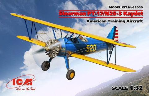 ICM 32050 1/32 scale Stearman PT-17/N2S-3 Kaydet American Training Aircraft plastic model kit