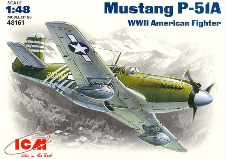 ICM 49161 1/48 scale N.A. P-51A Mustang WW2 American Fighter plastic model kit