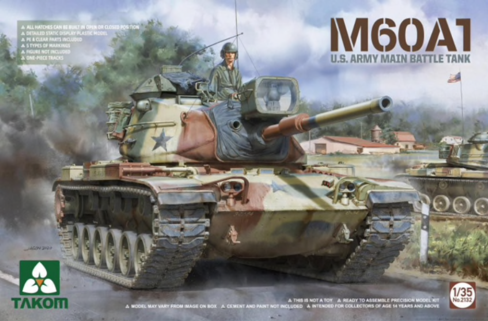 Takom 2132 1/35 scale M60A1 US Army Main Battle Tank kit - BlackMike Models