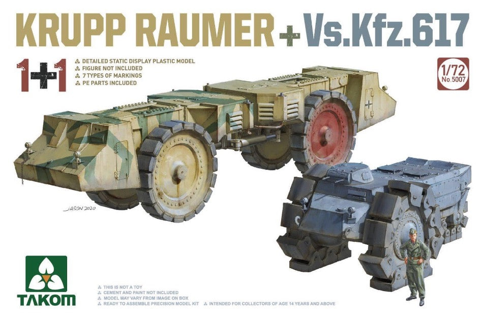 Takom 5007 1/72 scale Krupp Raumer and Vs.Kfz.617 plastic kit - BlackMike Models