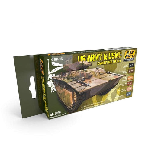 AK Interactive AK4220 US Army and US Marine Corps Camouflage Color Set - BlackMike Models