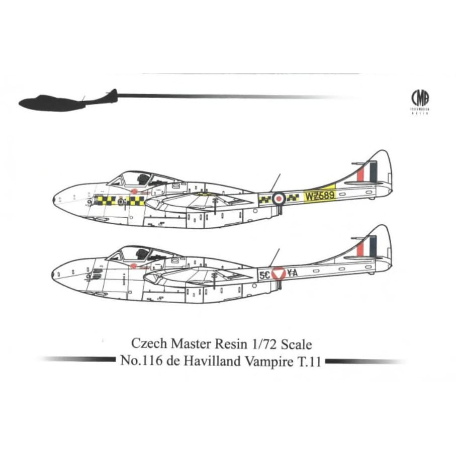 Czech Master Resin CMR 116 1/72 De Havilland Vampire T.11 - BlackMike Models