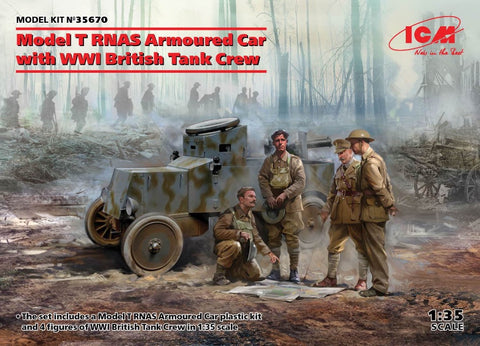 ICM35670 WW1 Model T RNAS Armoured Car with WW1 British Tank Crew - BlackMike Models