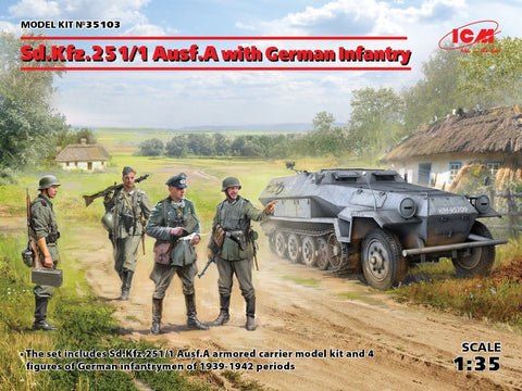 ICM 35103 1/35 Sd.Kfz.251/1 Ausf A with German Infantry figures - BlackMike Models