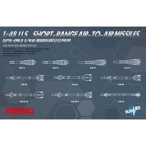 Meng SPS-043 1/48 US Short Range Air to Air Missile Set - BlackMike Models
