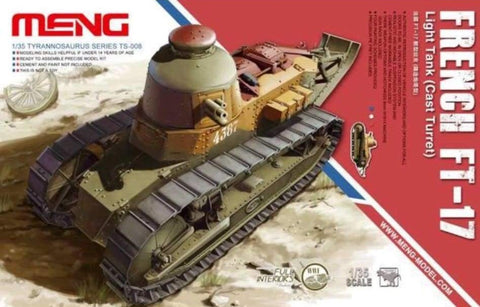 Meng TS-008 1/35 French FT-17 Light Tank (Cast Turret) Full Interior - BlackMike Models