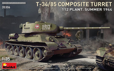 Miniart 35306 T-34/85 Composite Turret Plant 112 Summer 1944 box art - BlackMike Models