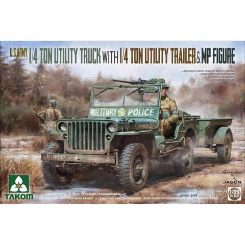 Takom 2126 1/35 US Army 1/4 Ton Utility Truck w/ 1/4 Ton Utility Trailer & MP Figure - 1/35 Military