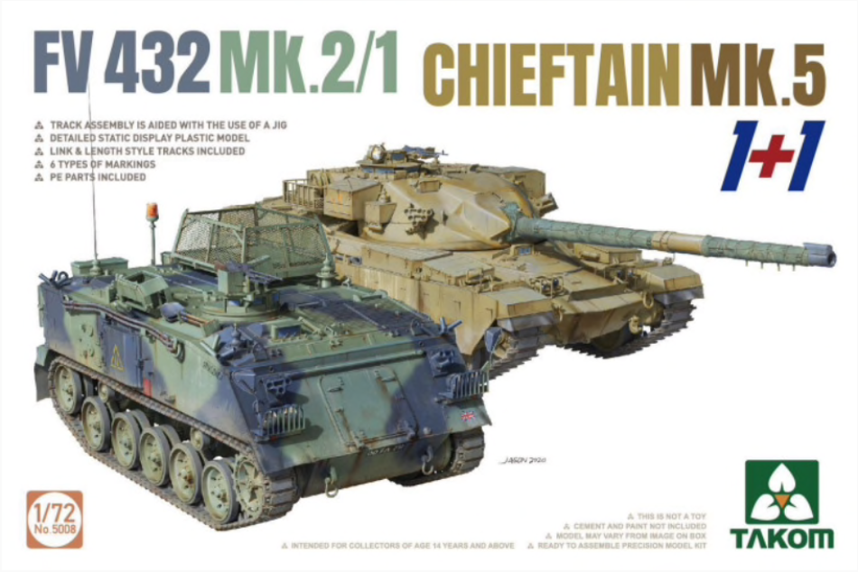 Takom 1/72 scale FV432 Mk.2/1 and Chieftain Mk.5 plastic kit - BlackMike Models