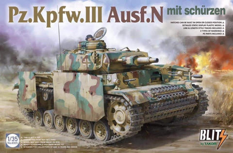 Takom 8005 Pz.Kpfw.III Ausf.N with Shurzen kit - BlackMike Models