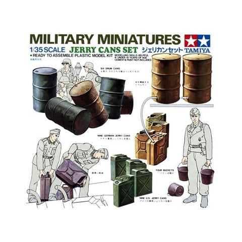 Tamiya 35026 1/35 Military Miniatures Jerry Cans Set - 1/35 Military