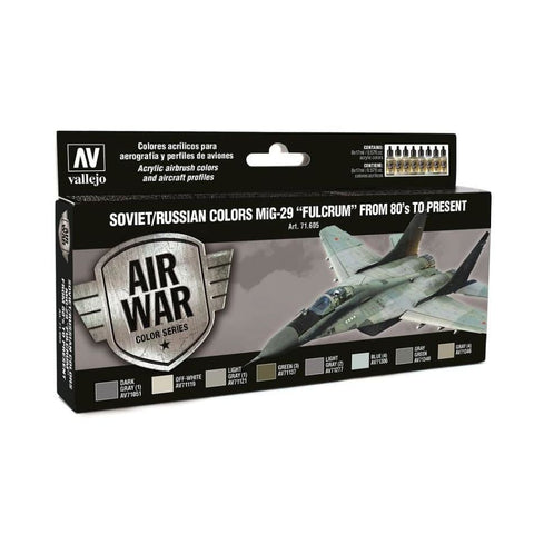 Vallejo Model Air 71605 Soviet/Russian Colours Mig-29 Fulcrum '80's to Present paint set - BlackMike Models