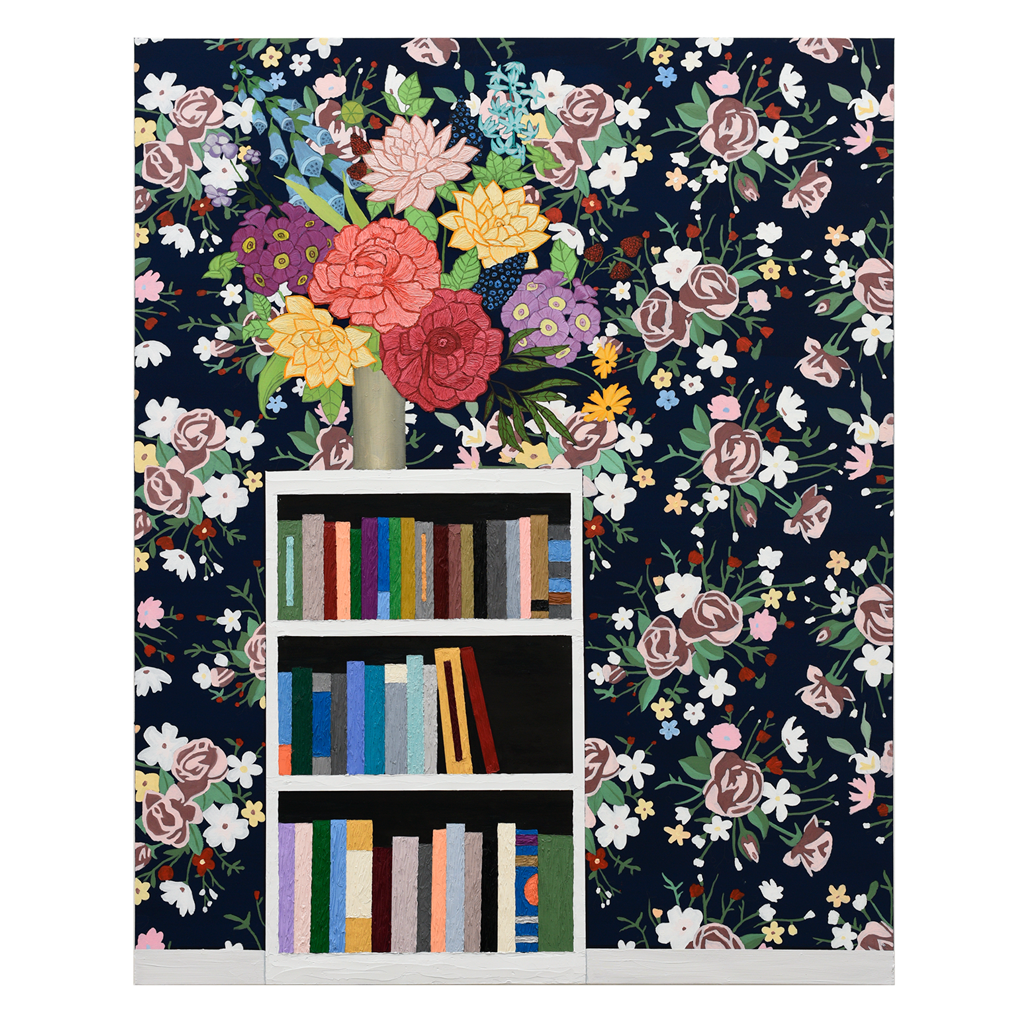 Flowers On Bookshelf By Alec Egan Exhibition A