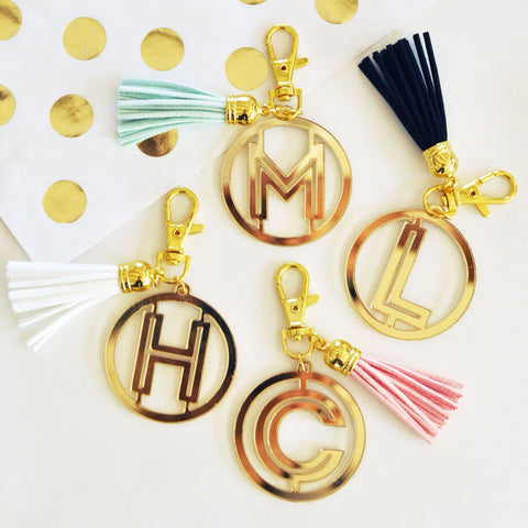 Gold Monogram Acrylic Keychain with Tassels