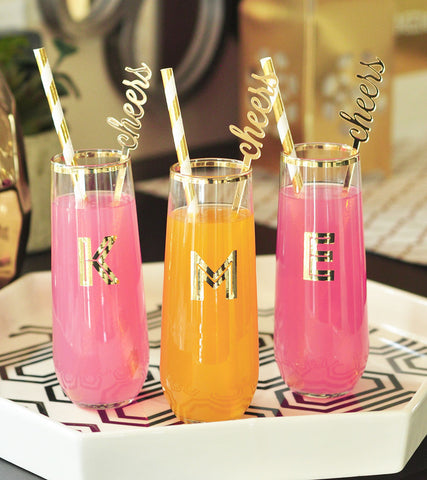 Monogrammed Stemless Champagne Glasses with Gold Rim