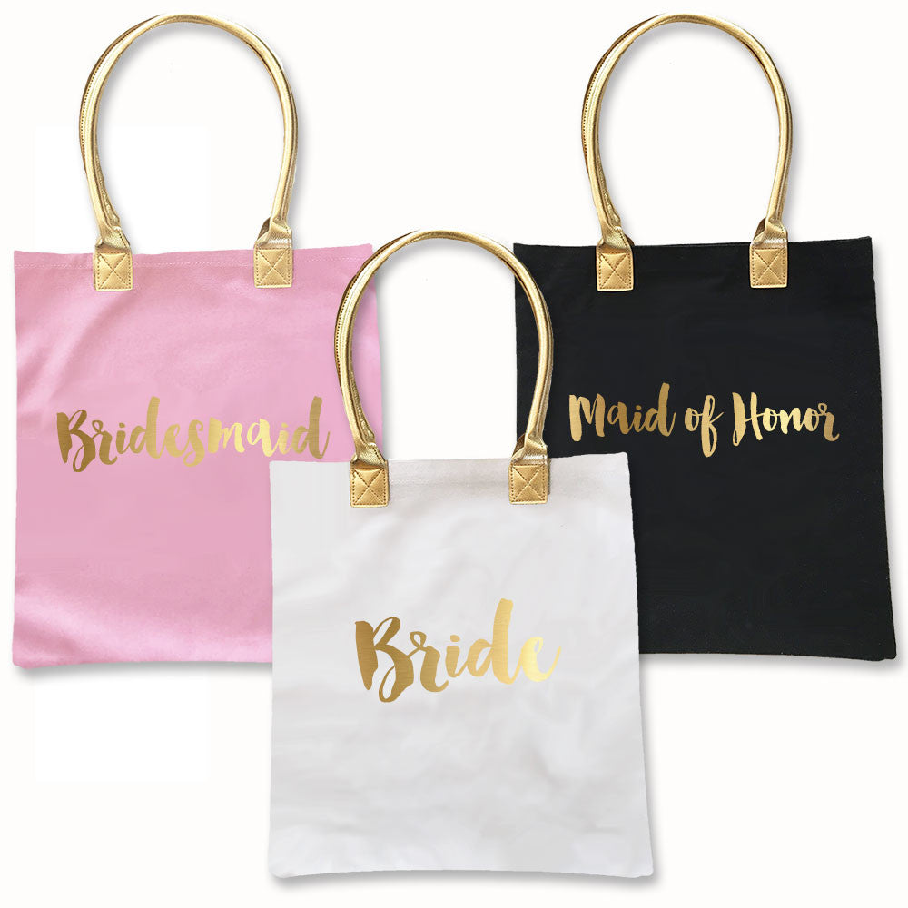 Bridal party tote bags in black, white and pink