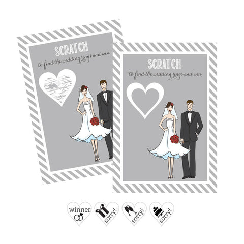 bride groom scratch off game cards