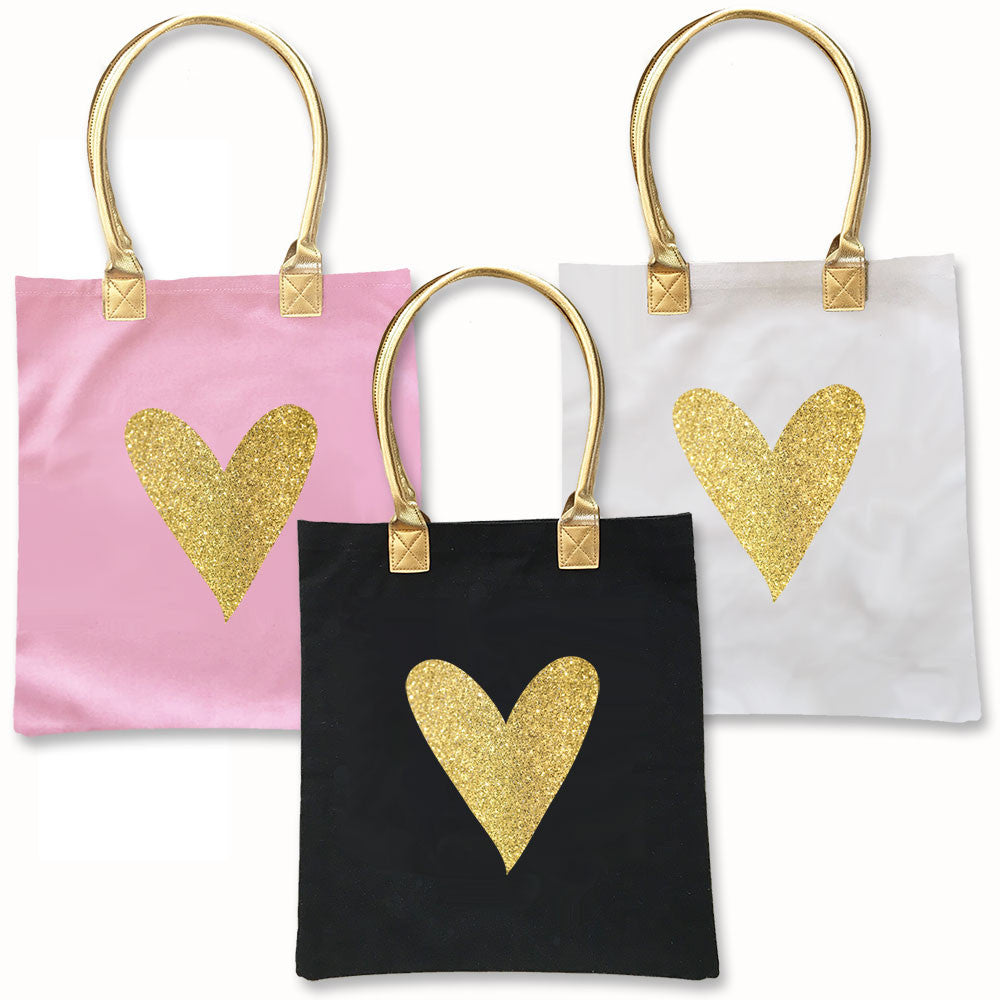 Glitter Heart Tote Bags in Black, Pink and White