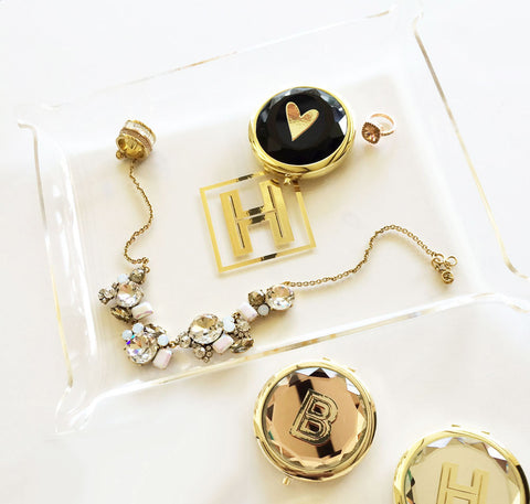 Gold Monogrammed Jewelry Tray for Brides