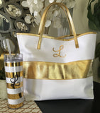 Monogram Initial Gold Bag