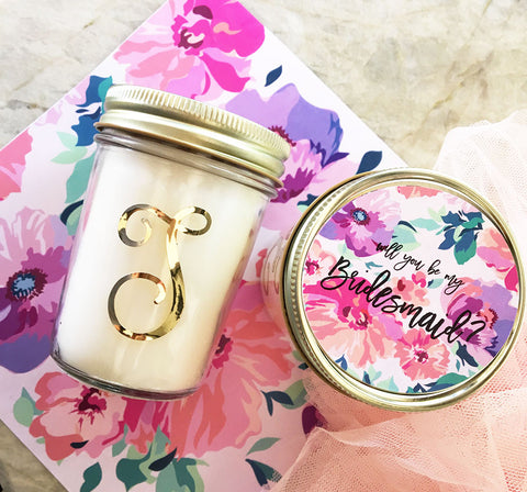 Monogram Mason Jar with Candle and Floral Gold Lid