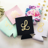 monogrammed bridal party koozies in 5 colors