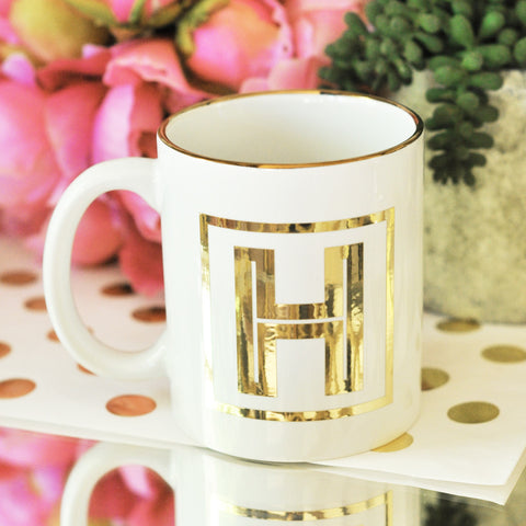 Monogrammed Coffee Mugs with Gold Rim and Initials