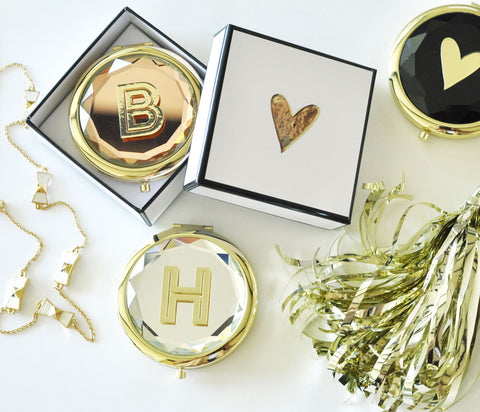 Monogrammed Compact Mirrors with Box