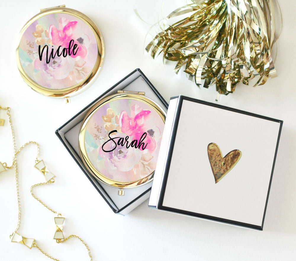 Personalized Compact Mirror for Bridesmaids