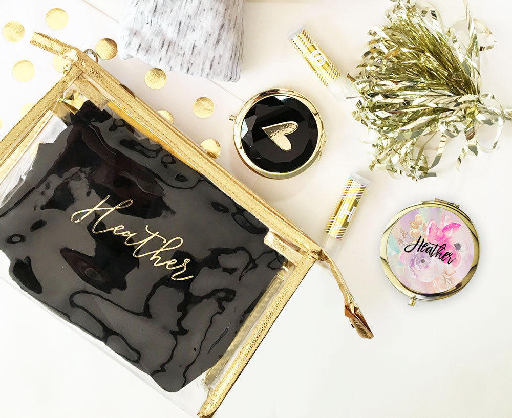 personalized cosmetic bag with metallic gold accent