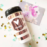Personalized Travel Coffee Mugs in Rose Gold