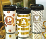 Personalized Travel Coffee Mugs in Gold, Rose Gold and Silver