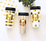 Travel Coffee Mugs Personalized in Gold foil