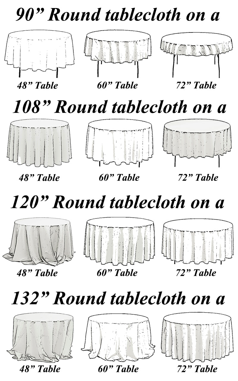 ... Choose From So Your Sure To Find Something For Your Next Event. Not  Sure Which Tablcloth Will Fit Your Table? Download Our Tablecloth Sizing  Cheat Sheet ...