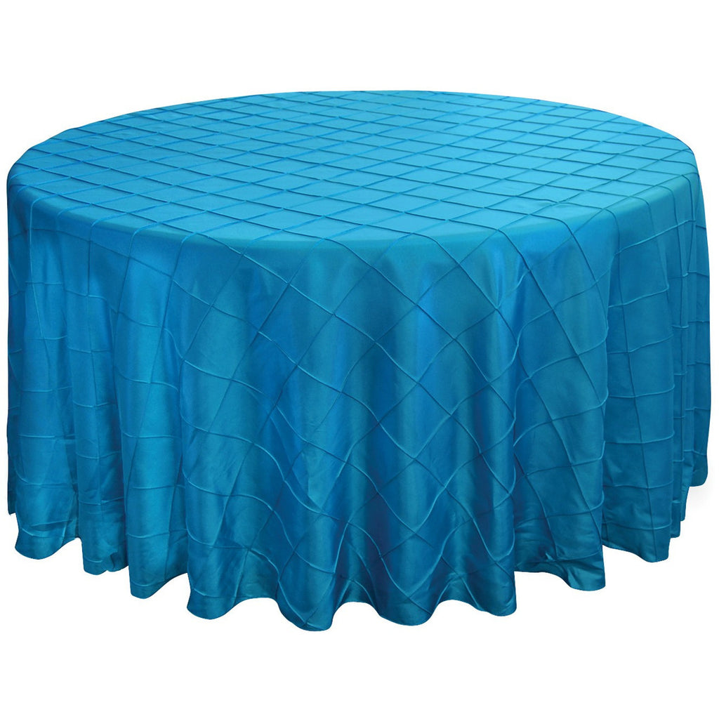 "132"" Round Pintuck Tablecloth - Wholesale Wedding Chair Covers l Wedding & Party Supplies"