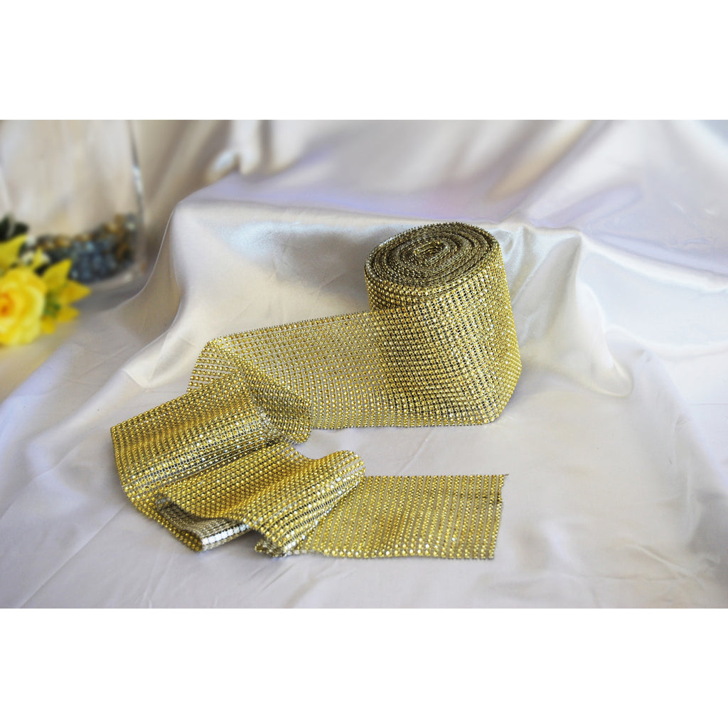 Gold-Rhinestone Mesh Roll (30ft) - Wholesale Wedding Chair Covers l Wedding & Party Supplies
