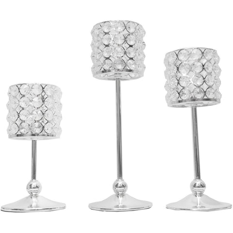 3 tier crystal candle holders (Set of 3) - Wholesale Wedding Chair Covers l Wedding & Party Supplies