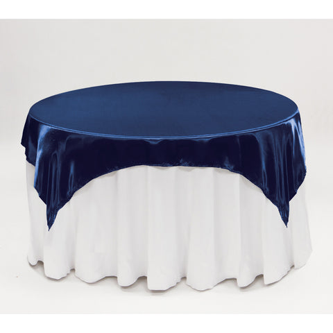 72 Satin Square Table Overlay Navy Blue YSefa