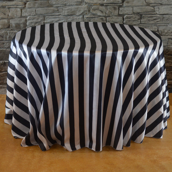 120 Quot Round Stripe Satin Tablecloth Striped Table Linens
