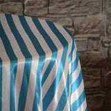"132"" Round Stripe Satin Tablecloth - Wholesale Wedding Chair Covers l Wedding & Party Supplies"