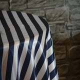 "90"" x 132"" Rectangular Stripe Satin Tablecloth"