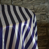 "90"" x 156"" Rectangular Stripe Satin Tablecloth"