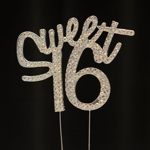Sweet 16 Rhinestone Cake Topper - Wholesale Wedding Chair Covers l Wedding & Party Supplies